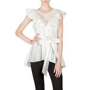 Ryu cotton ruffle and lace ivory top tunic